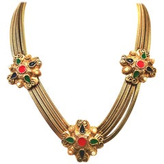 20th Century Gold, Enamel & Faux Pearl Etruscan Style Choker Necklace
