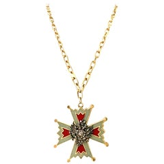 20th Century Gold & Enamel Maltese Eagle Crest Pendant Necklace