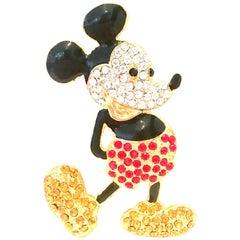 20th Century Gold, Enamel & Swarovski Crystal Mickey Mouse Brooch By, Disney