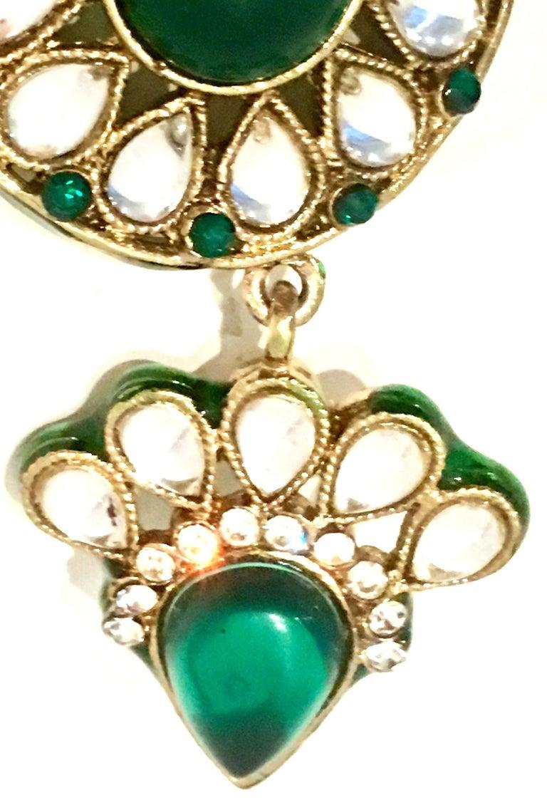 20th Century Gold Glass & Enamel Drop Earrings For Sale 6