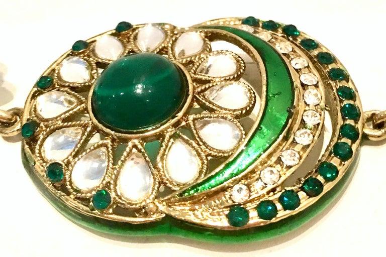 20th Century Gold Glass & Enamel Drop Earrings For Sale 7