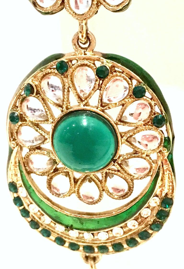 20th Century Gold Glass & Enamel Drop Earrings For Sale 8