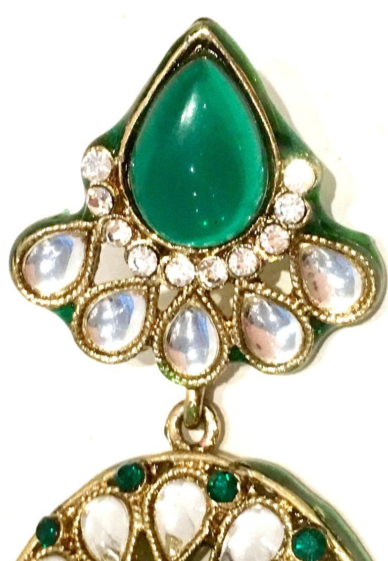 20th Century Gold Glass & Enamel Drop Earrings For Sale 9