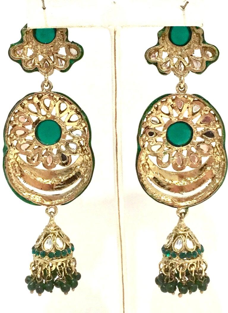 20th Century Gold Glass & Enamel Drop Earrings For Sale 11