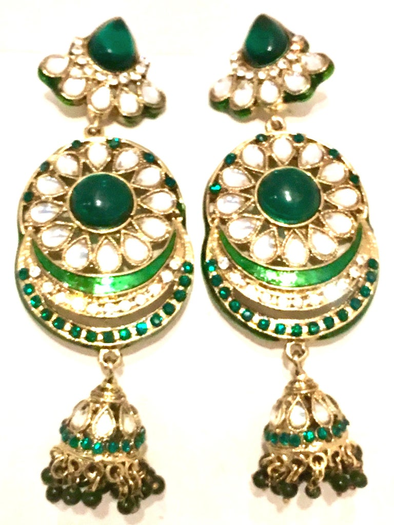 20th Century Gold Glass & Enamel Drop Earrings In Good Condition For Sale In West Palm Beach, FL