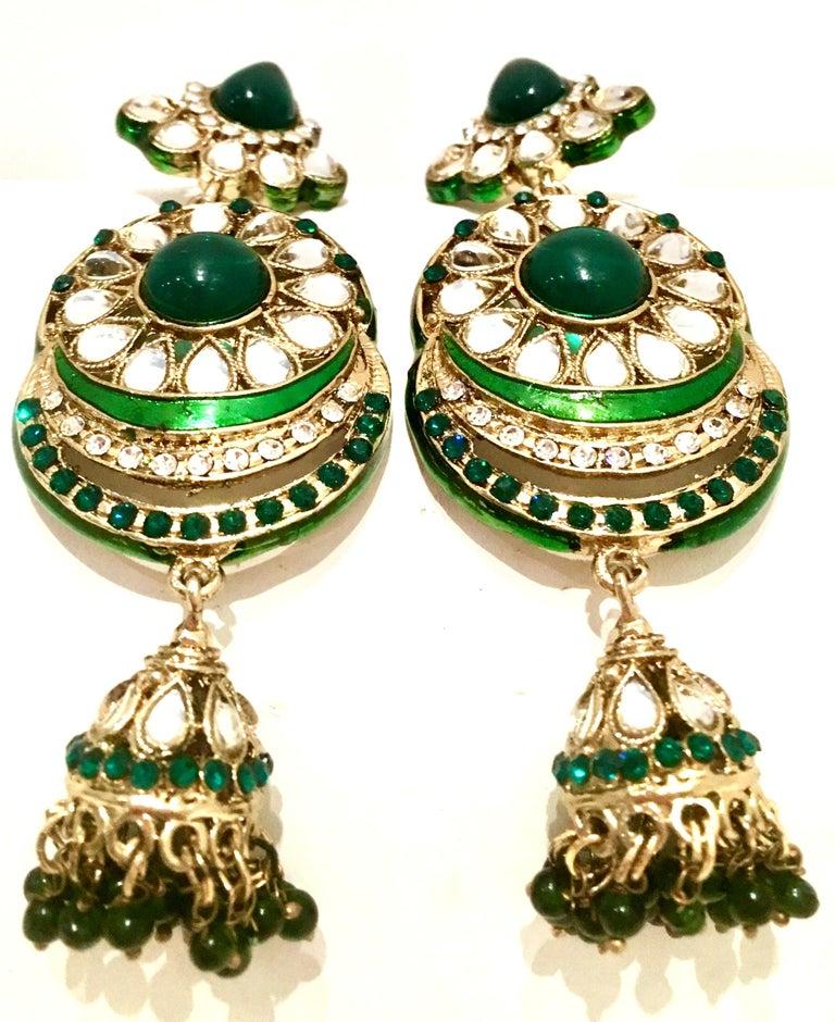 Women's or Men's 20th Century Gold Glass & Enamel Drop Earrings For Sale