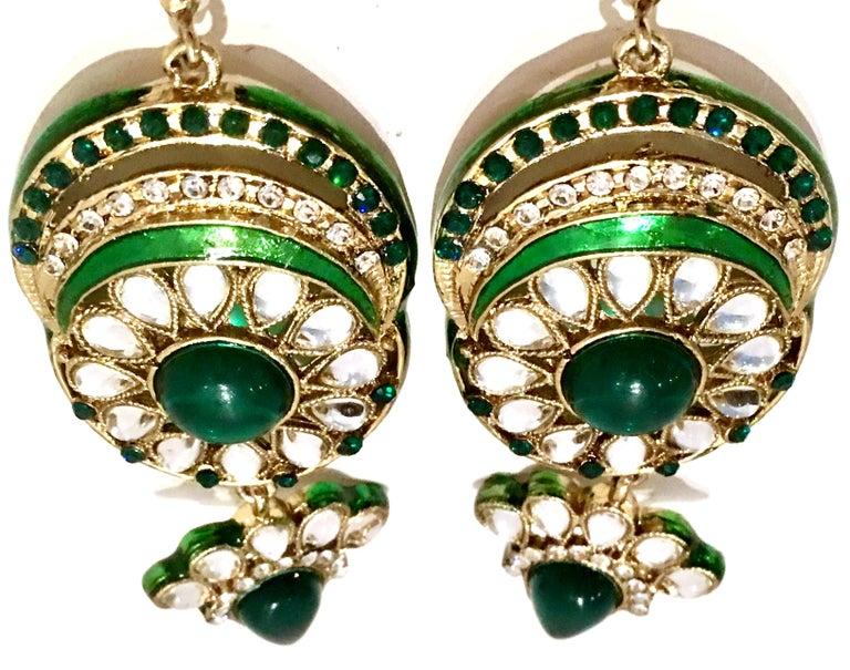 20th Century Gold Glass & Enamel Drop Earrings For Sale 1