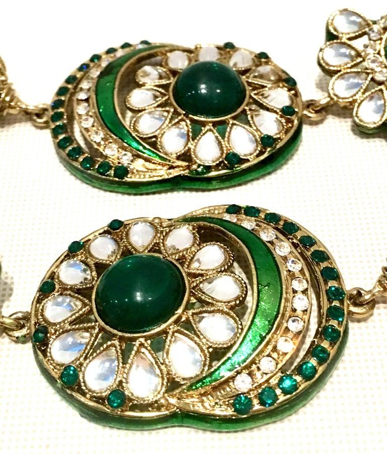 20th Century Gold Glass & Enamel Drop Earrings For Sale 2