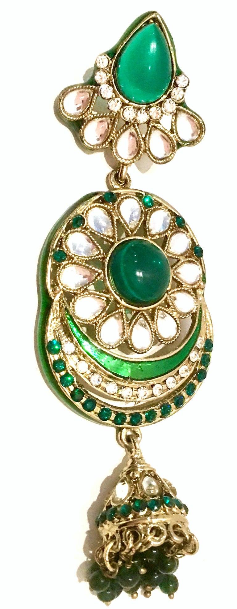 20th Century Gold Glass & Enamel Drop Earrings For Sale 3