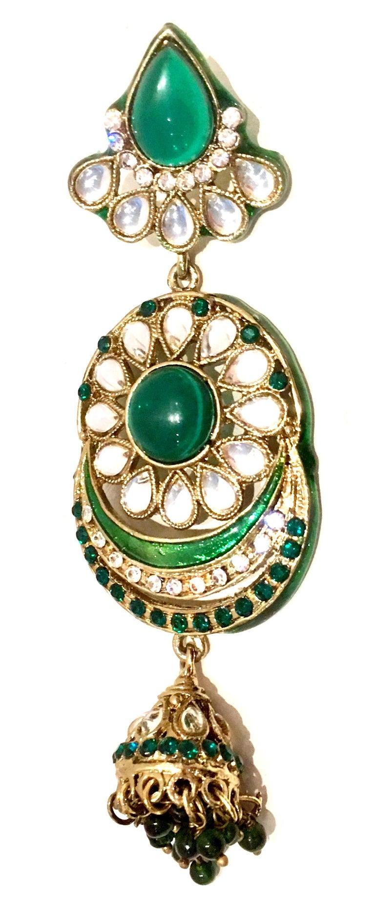 20th Century Gold Glass & Enamel Drop Earrings For Sale 4