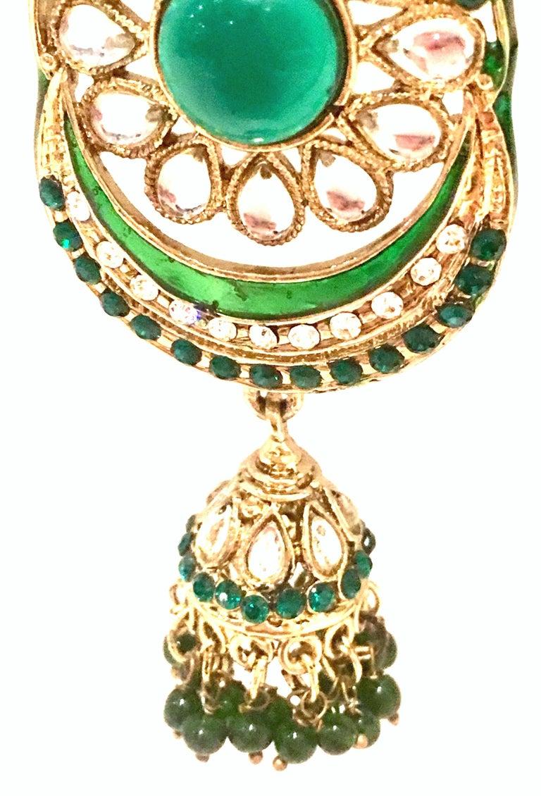 20th Century Gold Glass & Enamel Drop Earrings For Sale 5