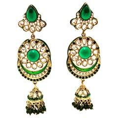 20th Century Gold Glass & Enamel Drop Earrings
