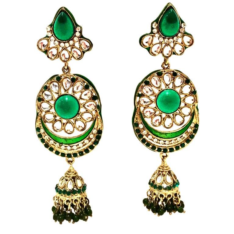 20th Century Gold Glass & Enamel Drop Earrings For Sale