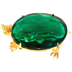 20th Century Gold & Glass Turtle Brooch