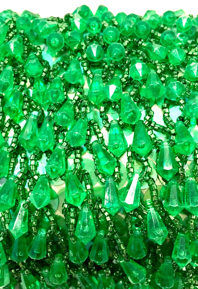 20th Century Gold & Green Crystal Bead Evening Bag By, Richere Hong Kong 6