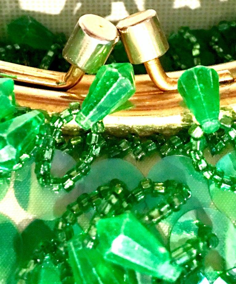 20th Century Gold & Green Crystal Bead Evening Bag By, Richere Hong Kong 9