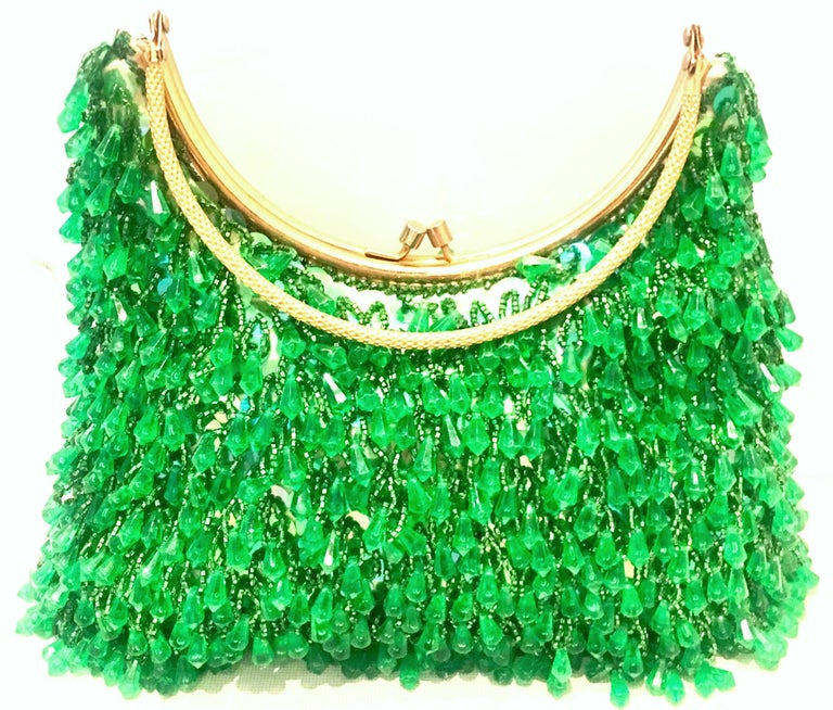 20th Century Gold & Green Crystal Bead Evening Bag By, Richere Hong Kong In Good Condition In West Palm Beach, FL