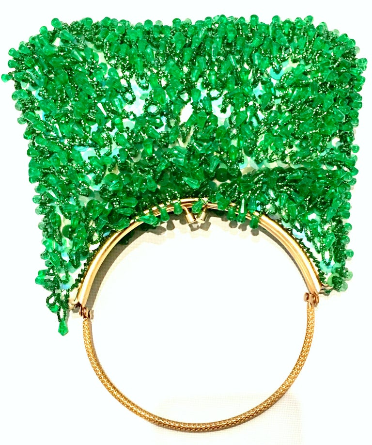 Women's or Men's 20th Century Gold & Green Crystal Bead Evening Bag By, Richere Hong Kong For Sale