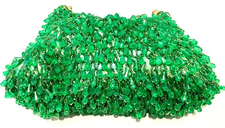 20th Century Gold & Green Crystal Bead Evening Bag By, Richere Hong Kong 2