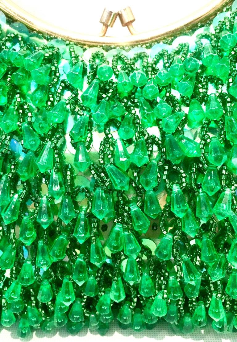 20th Century Gold & Green Crystal Bead Evening Bag By, Richere Hong Kong 3