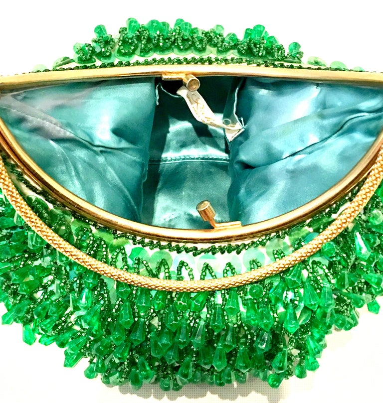 20th Century Gold & Green Crystal Bead Evening Bag By, Richere Hong Kong For Sale 4