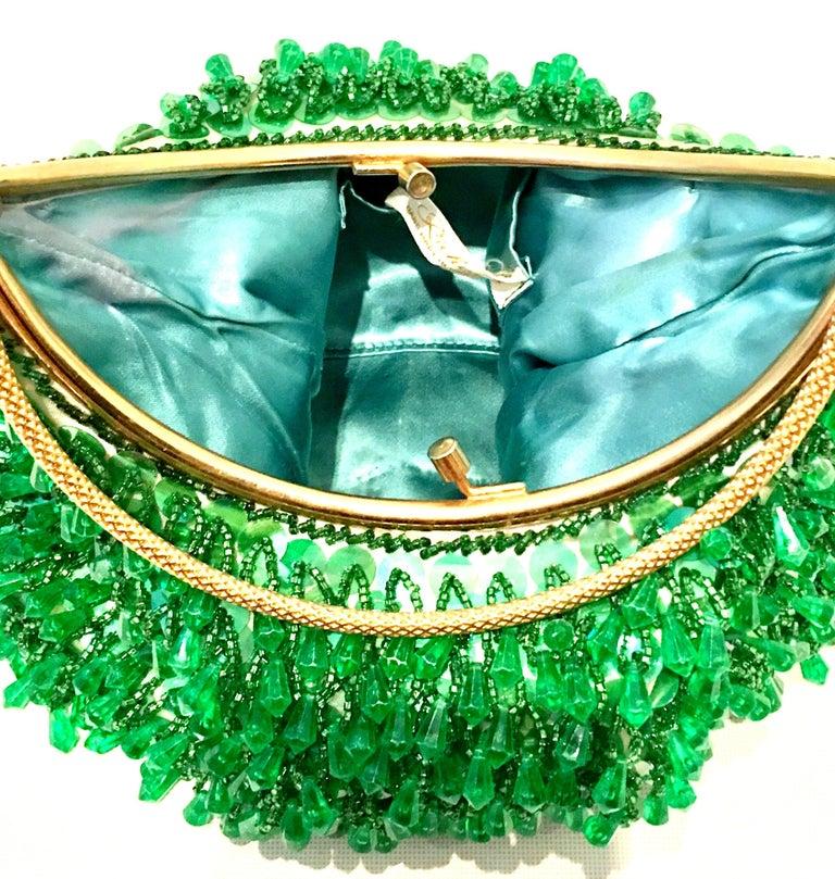 20th Century Gold & Green Crystal Bead Evening Bag By, Richere Hong Kong 4