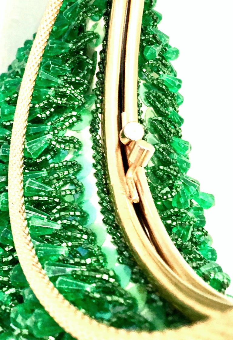 20th Century Gold & Green Crystal Bead Evening Bag By, Richere Hong Kong For Sale 5