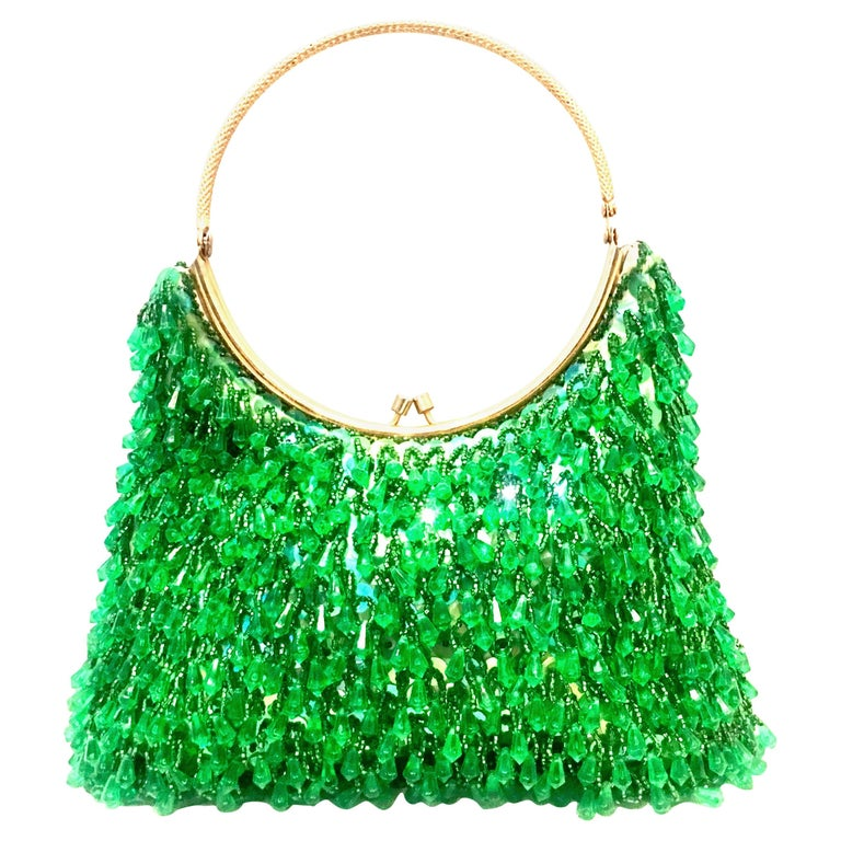20th Century Gold & Green Crystal Bead Evening Bag By, Richere Hong Kong For Sale