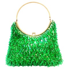 20th Century Gold & Green Crystal Bead Evening Bag By, Richere Hong Kong