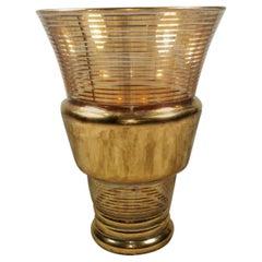 20th Century Gold Leaf Glass Vase, France