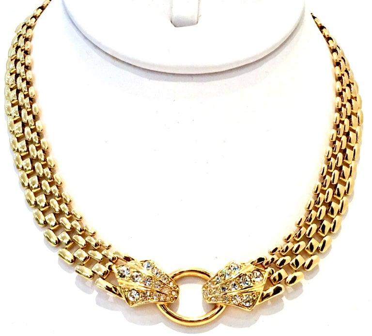 5d02075f1803e 20th Century Gold Link & Swarovski Crystal Snake Choker Necklace By, Trifari