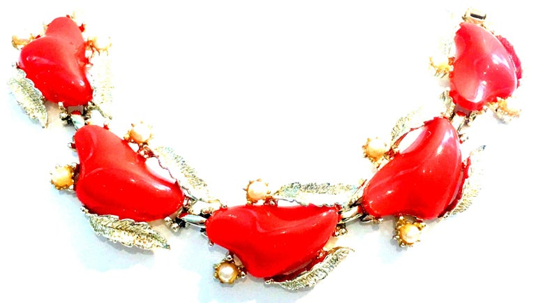 Mid-20th Century Gold Plate, Faux Coral Lucite & Faux Pearl five link Bracelet & Pair Of Earrings By, Coro Set Of Three. This three piece demi parure 5 link bracelet and pair of earrings by Coro features, gold plate base metal with vivid orange