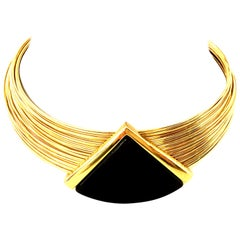 20th Century Gold & Lucite Wire Collar Choker Style Necklace By, Napier