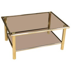 20th Century Gold Metal and Glass Italian Design Coffee Table, 1980