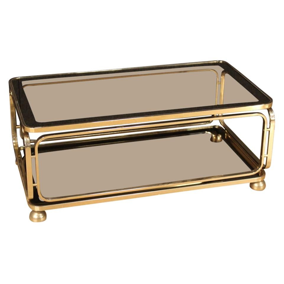 20th Century Gold Metal Italian Design Living Room Coffee Table, 1980