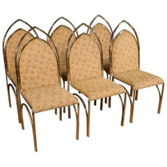 20th Century Gold Metal Italian Design Six Chairs, 1970