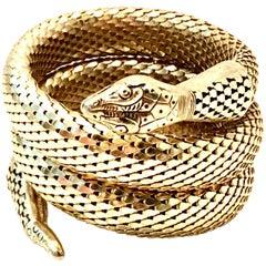 "20th Century Gold Metal Mesh Coil ""Snake"" Bracelet By, Whiting & Davis"
