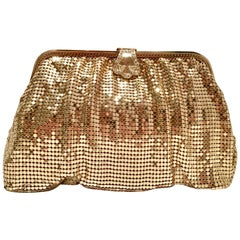20th Century Gold Metal Mesh & Swarovksi Crystal Evening Bag By, Whiting & Davis