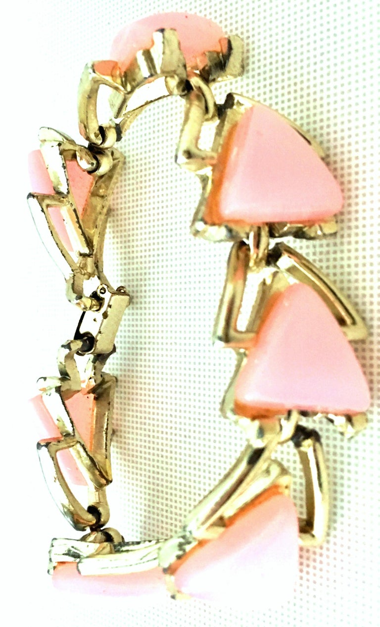 Women's or Men's 20th Century Gold & Pink Lucite Link Bracelet By, Coro For Sale