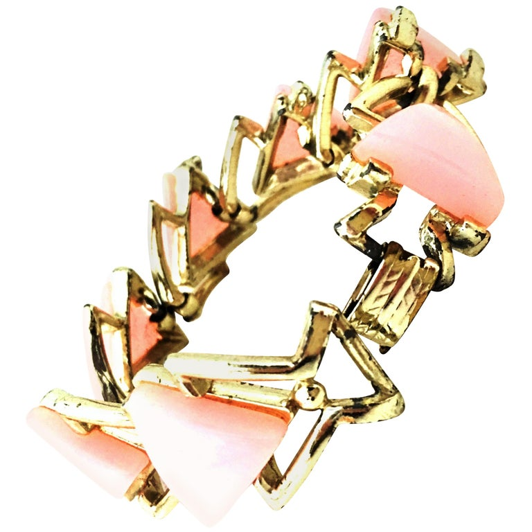 20th Century Gold & Pink Lucite Link Bracelet By, Coro For Sale