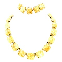 20th Century Gold Plate & 22K Gold Fleck Lucite Necklace & Bracelet By, Coro S/2