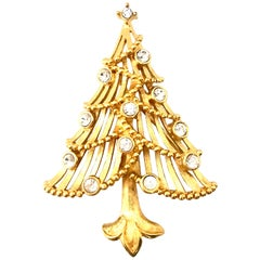 20th Century Gold Plate & Austrian Crystal Dimensional Christmas Tree Brooch