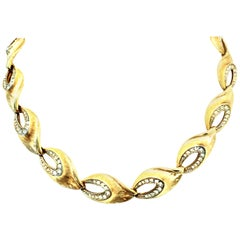 20th Century Gold Plate & Austrian Crystal Link Choker Style Necklace By, Kramer
