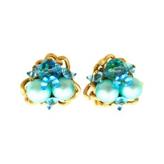 20th Century Gold Plate & Blue Bead Clip Style Pair Of Earrings