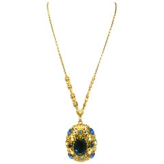 20th Century Gold Plate & Blue Sapphire And Faux Pearl Crystal Bohemia  Necklace