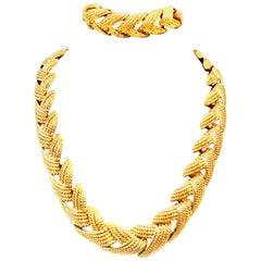 20th Century Gold Plate Choker Style Link Necklace & Bracelet By Napier