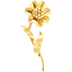 20th Century Gold Plate Dimensional Flower Brooch By, B.S.K.