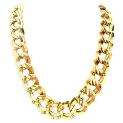 20th Century Gold Plate Double Chain Link Necklace  By Monet