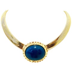 20th Century Gold Plate & Faux Blue Lapis Omega Choker Necklace By, Trifari