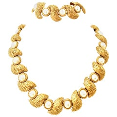 20th Century Gold Plate & Faux Pearl Necklace And Bracelet By, Trifari S/2
